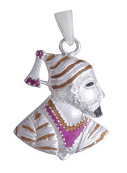 925 Sterling Silver Shivaji Maharaj Pendant 04