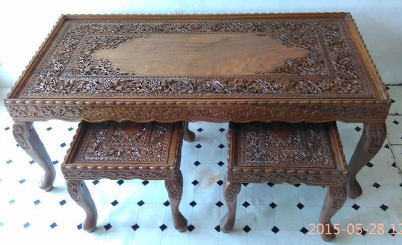 Marvelous Carved Coffee Table Set Manufacturer Supplier In Srinagar India Spiritservingveterans Wood Chair Design Ideas Spiritservingveteransorg
