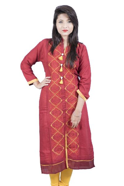 Rayon Panal Embroidered Kurti