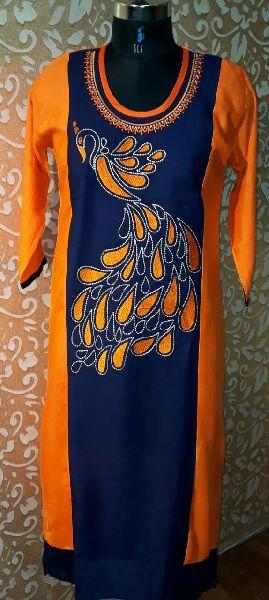 Rayon Peacock Embroidered Kurti