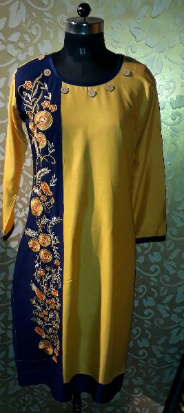Rayon Side Floral Embroidered Kurti