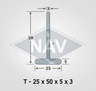 T-25x50x5x3 Steel Window Section