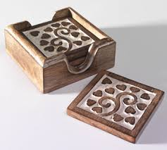 Wooden Carved Tea Coasters