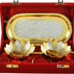 Brass Bowl & Tray Set