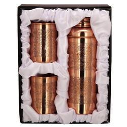 Copper Bisleri Etching Bottle & Tumbler Set
