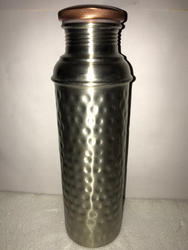 Nickle Matt Finish Hammered Copper Bottle