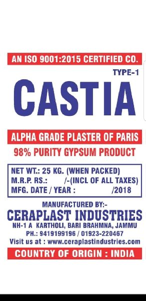 Type 1 Alpha Grade Plaster of Paris