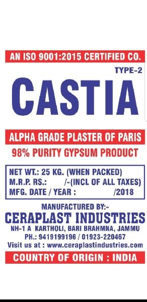 Type 2 Alpha Grade Plaster of Paris