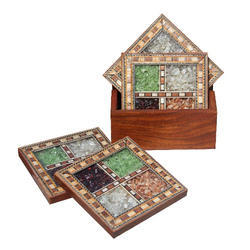 Wooden Square Shaped Coaster Set