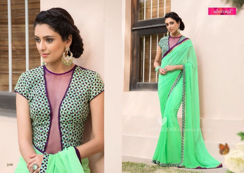 3101 Mintorsi Jashmine Georgette With Fancy Fabric Saree