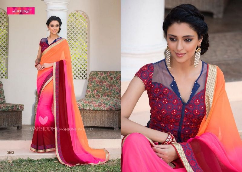 3102 Mintorsi Jashmine Georgette With Fancy Fabric Saree