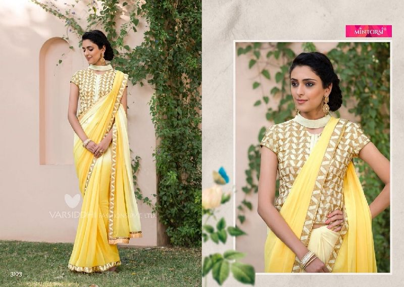 3103 Mintorsi Jashmine Georgette With Fancy Fabric Saree