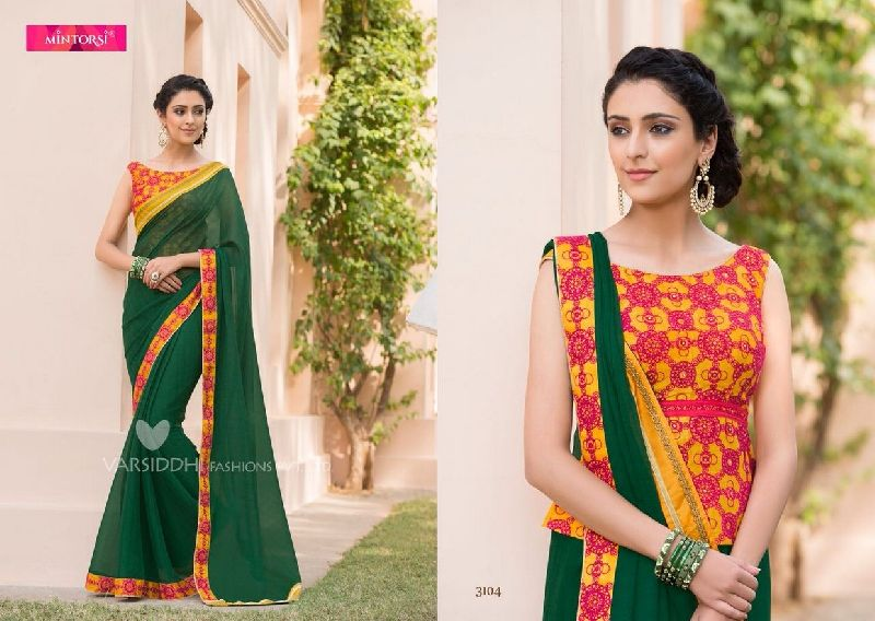 3104  Mintorsi Jashmine Georgette With Fancy Fabric Saree