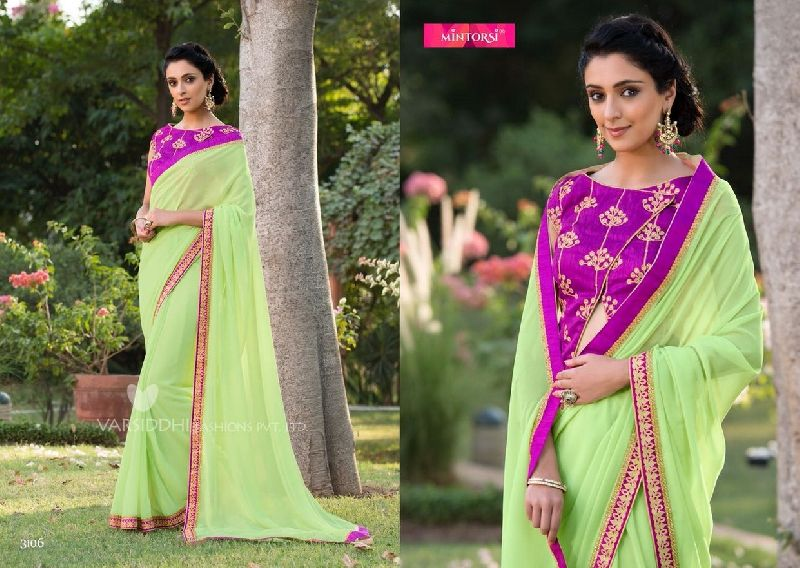 3106 Mintorsi Jashmine Georgette With Fancy Fabric Saree