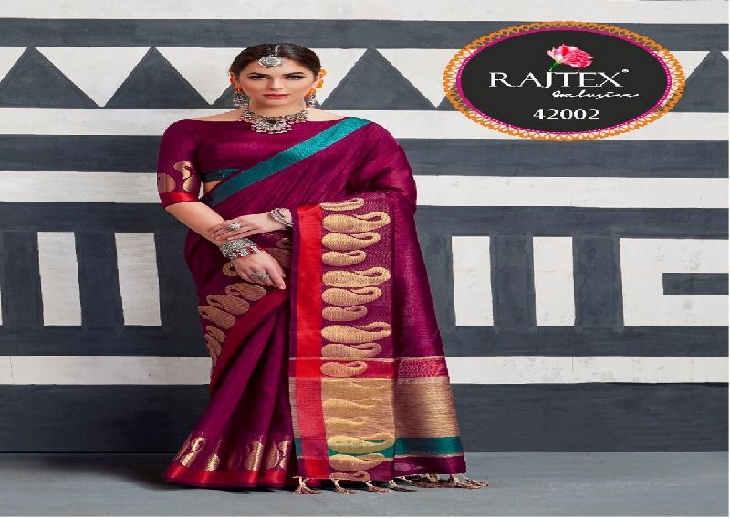 42002  Rajtex Kaleera silk nylon silk saree
