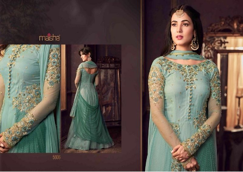 5606 Swagat SnowWhite Voilet 5600 Series Designer Anarkali Salwar Suit  .