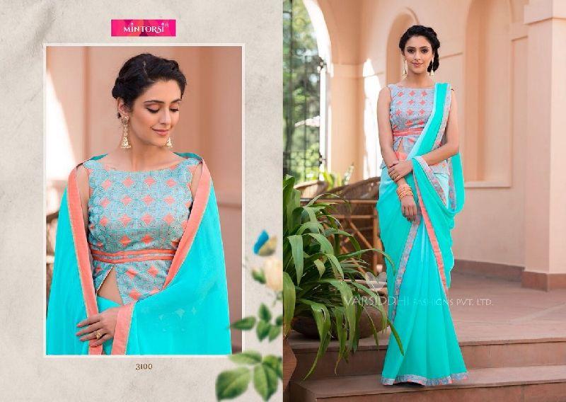 Mintorsi Jashmin Georgette With Fancy Fabric Sarees