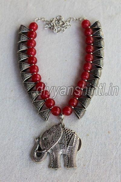 Antique Elephant & Jhumka Pendant