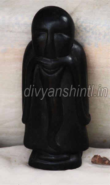 Black Stone Old Man Statue