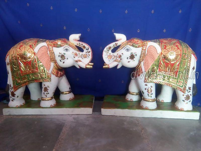 White Marble Elephant Pair Statue
