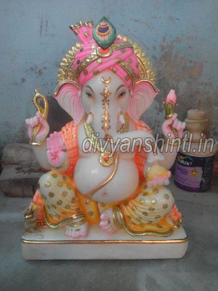 White Marble Pagdi Ganesha Statue