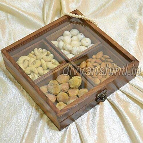 Wooden Square Dry Fruit Box