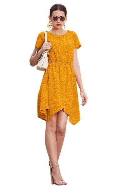 D-218 Vegash Yellow Western Dress 01