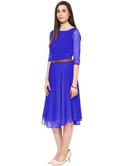 D-29 Moonlight Light Blue Western Dress 02