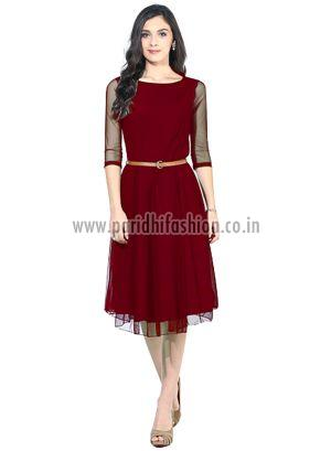 D-05 Maroon Moon Light Western Dress  01