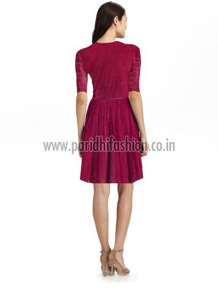 D-20 Rich Maroon Side Western Dress 03