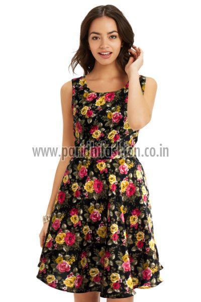 D-21 Floral Black B Western Dress 01