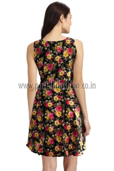 D-21 Floral Black B Western Dress 02