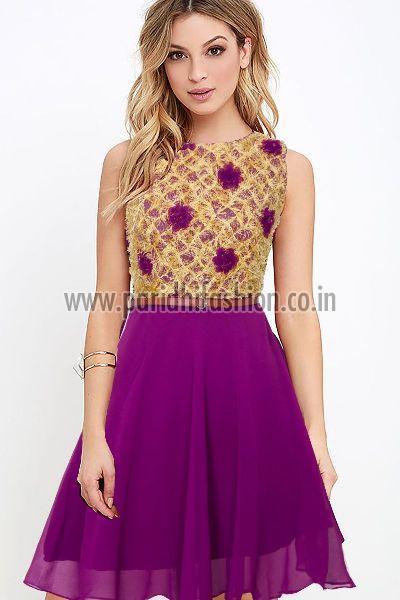 Vatika Wine Western Dress