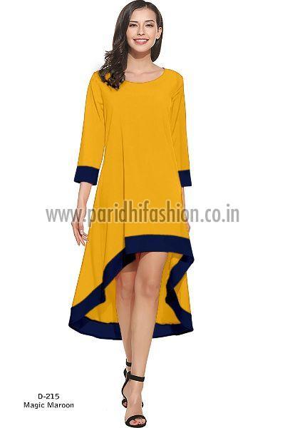 D-219 Magic Yellow Western Dress 01