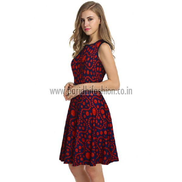 D-226 Fiza Red Western Dress 02