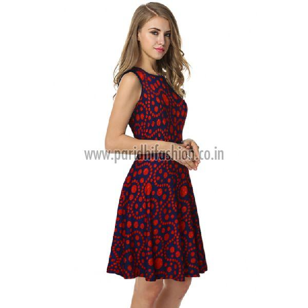 D-226 Fiza Red Western Dress 03