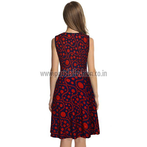 D-226 Fiza Red Western Dress 04