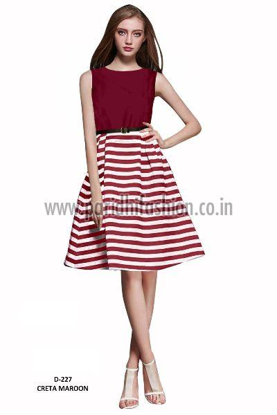 D-227 Creta Maroon Western Dress 02