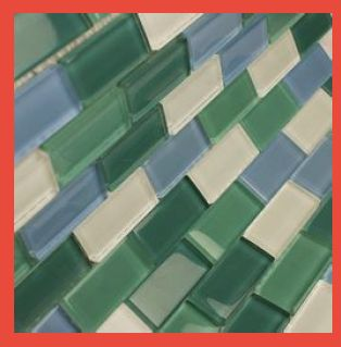 Green Mix Glass Mosaic Brick Tile