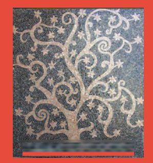 Hand Cut Golden Tree Glass Mosaic Tile