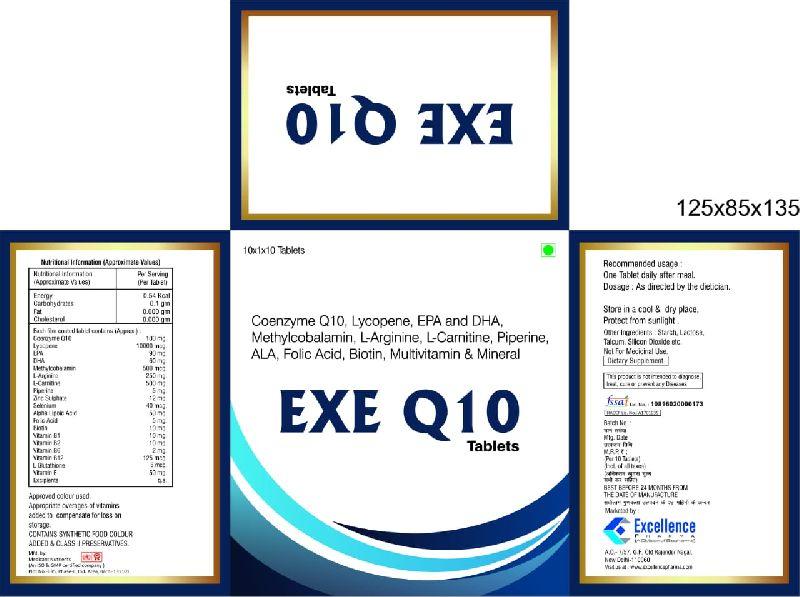 Coenzyme Q10, Lycopene, EPA and DHA, Methylcobalamin, Folic Acid, Multivitamin & Mineral Tablets
