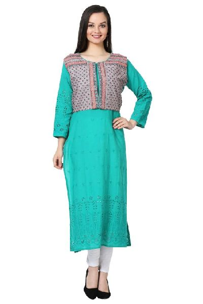 Chikankari Sky Blue Cotton Kurti with Koti