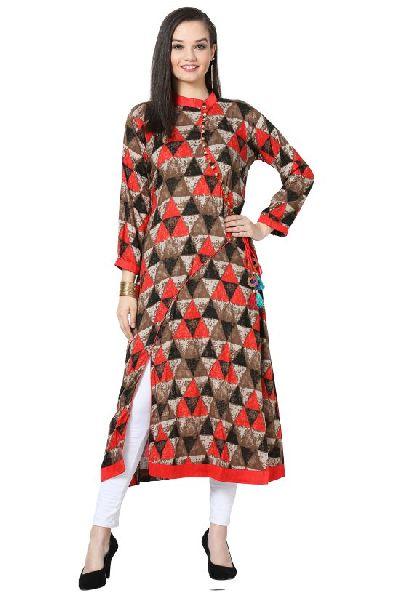 Angrakha Style Printed A-Line Rayon Red Kurti