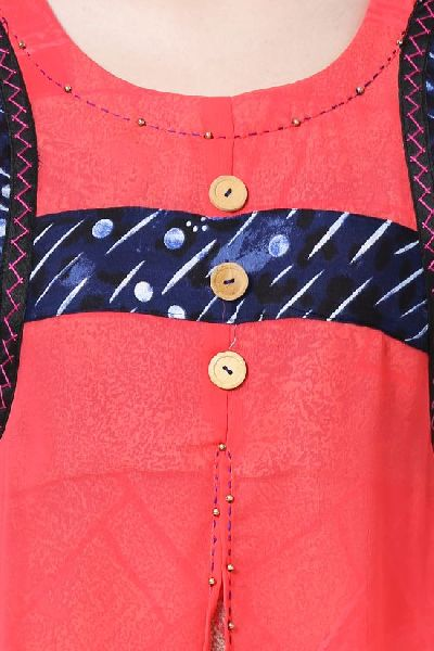 Printed Georgette Red Kurti