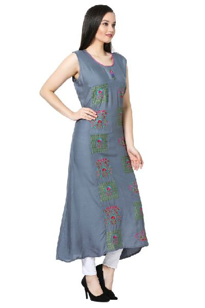 Embroidered A-line Rayon Grey Kurti