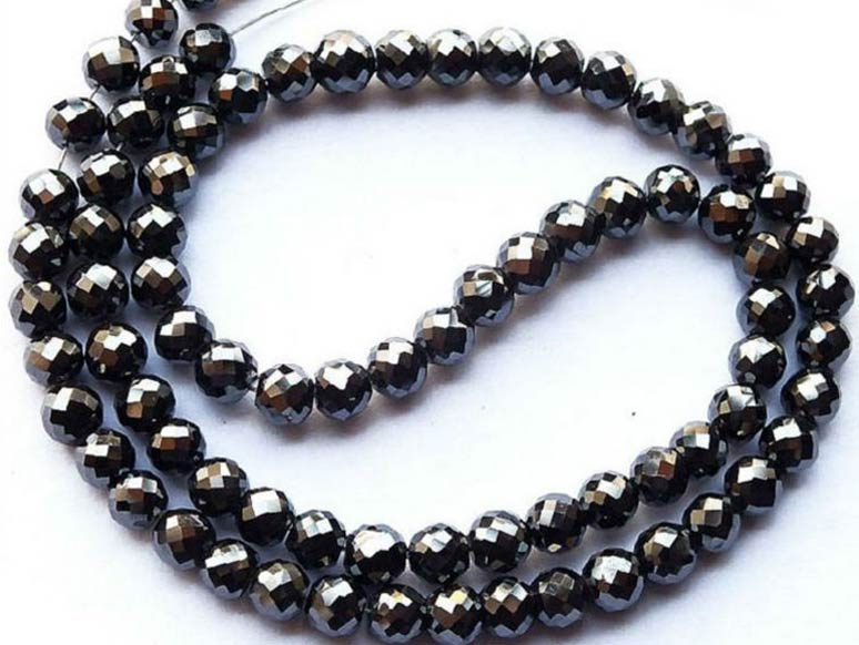 Natural Black Loose Diamond Faceted Beads Chain