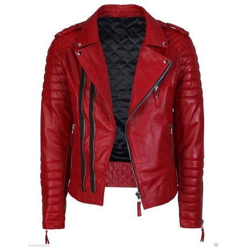 Red Ladies Leather Jacket