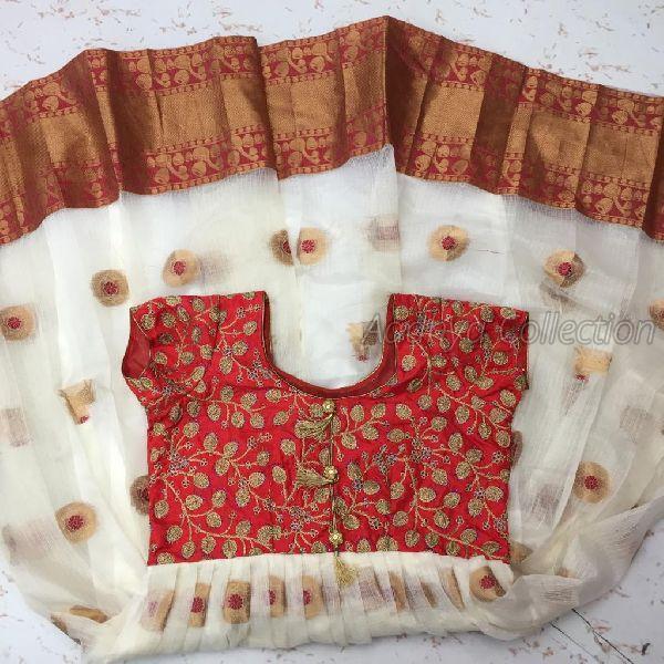 White Kota Doria Gown