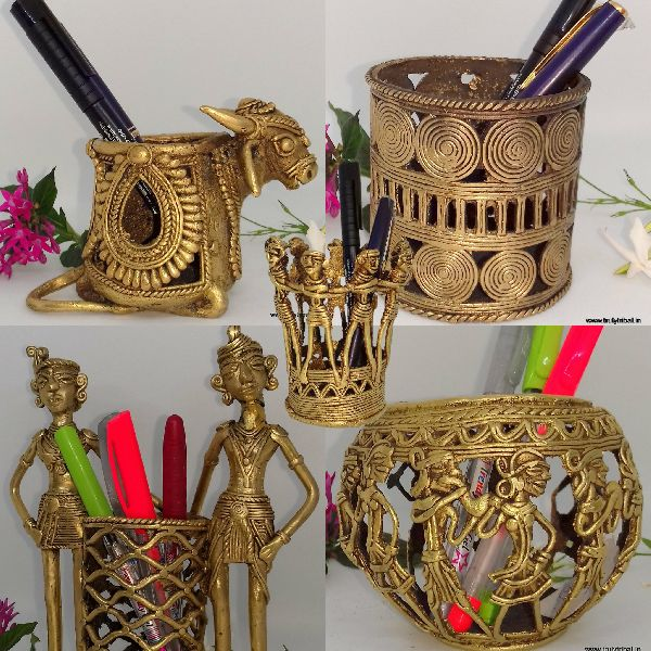 Brass Dhokra Pen Stands