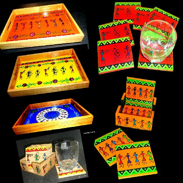 Warli Art Tray with Coasters